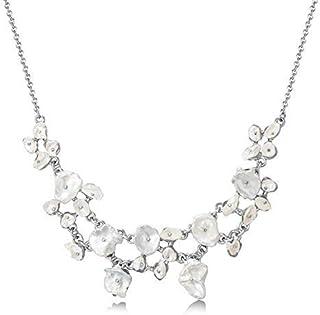 Mestige Women Brass Marissa Pearl Necklace, 43 cm - MSNE3839, Silver/Off White
