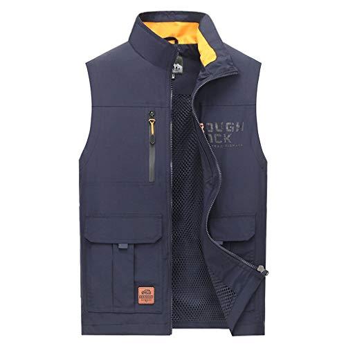 Herrenweste Sommerweste Dünnschliff Herren Outdoorweste schnell trocknende atmungsaktive Weste mit Mehreren Taschen (Farbe : Navy blau, größe : XXL)