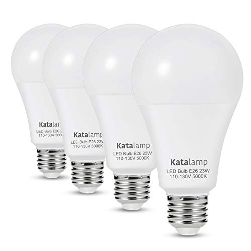 A21 LED Light Bulbs 23 Watt (UL-Listed), 150W-200W Equivalent, 5000K at 2500 Lumens, Standard Medium Screw E26 Base, Daylight White, Home Office Interior Frosted Decor Lights, Non-Dimmable, (4-Pack)