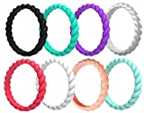Arua Thin Silicone Wedding Rings for Women 8-Pack Stackable Silicone Rings, Diamond Pattern – Fashion Rubber Wedding Bands - Black, Red, Purple, Green, White, Blue, White, Silver