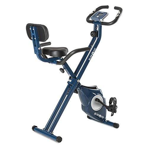 Klar FIT Klarfit Azura [CF/Pro] X-Bike - Bicicleta Fija, Bicicleta estática, medidor de Pulso, Peso a rotar de 3 kg, Opcional: Respaldo y Soporte Lateral, Asiento ergonómico, máx. 100kg, Azul