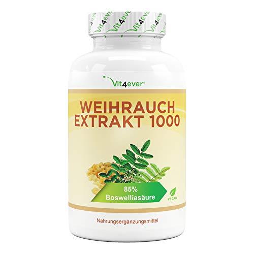 Extrait d'encens - 365 gélules - Premium : 85% d'acide boswellia - Fortement dosé avec 1000 mg par dose quotidienne - Boswellia Serrata indien authentique - Végétalien