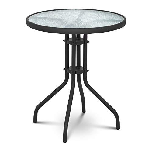 Uniprodo Mesa Redonda De Jardín Terraza Balcón Uni_Table_01 (Altura: 70 cm, Ø 60 cm, Lámina de Vidrio Templado, Color Negro)