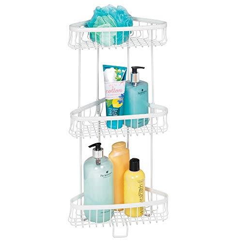mDesign Eckregal Bad freistehend – praktisches Badregal mit 3 Ebenen zur Aufbewahrung von Shampoo, Duschgel, Handtüchern & Co. – perfektes Duschregal aus Edelstahl – weiß