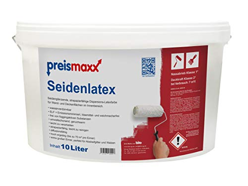 preismaxx Seidenlatex Wandfarbe, abwischbare Latexfarbe, weiß, seidenglänzend, 10 Liter, Deckkraftklasse 2, Nassabriebklasse 1