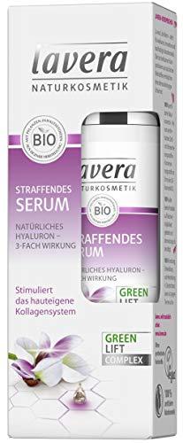 lavera Straffendes Serum Karanja mit 3-fach wirksamem Hyaluron ✔ Anti Falten Serum ✔ Intensive Feuchtigkeit und Pflege ✔ vegan ✔ Bio ✔ Naturkosmetik ✔ Natural ✔ Kosmetik Gesichtscreme (30 ml)