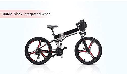 LQRYJDZ Double Battery 100-150KM Long Range Electric Bike Mountain Style Full Suspension E Bike (Color : Black mag. Wheel)