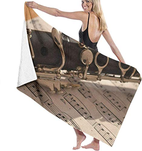 Toalla de Playa Música Instrumentos Musicales Notas Toallas de baño de Microfibra Toalla de Secado rápido Manta para Viajes Piscina de natación Yoga Camping Gimnasio Deporte 80X130 Cm
