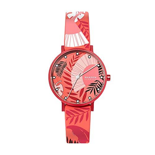 Skagen Aaren. Reloj minimalista de cuarzo, de silicona de color de 1.41 pulgadas, SKW2765., talla única , Rojo
