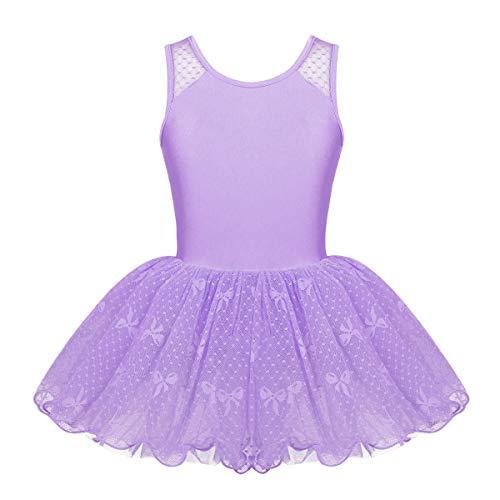 iEFiEL Girls Princess Ruffle/Cap Sleeves Ballet Dance Gymnastics Tutu Leotard Dress Ballerina Dancewear Lavender Lace Back 8-10