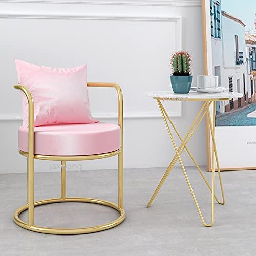 JINKEBIN Hocker. Nordic Style Single Sofa Stuhl Freizeitstuhl Wohnzimmer Kleine Stuhl Net Red Nagel Shop Hocker Light Luxus Lounge Chair Bar Stuhl (Color : Pink)