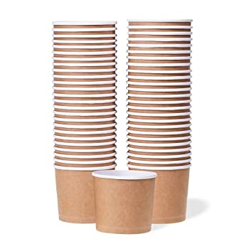 Paper Ice Cream Cups - 50-Count 11-Oz Disposable Dessert Bowls for Hot or Cold Food 11-Ounce Party Supplies Treat Cups for Sundae Frozen Yogurt Soup Brown