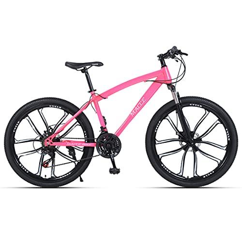 LHQ-HQ Bicicleta De Montaña para Adultos, Rueda De 26', 21 Velocidades, Suspensión De Horquilla, Freno De Disco, Bicicletas MTB Adecuadas para Hombres/Mujeres/Adolescentes,Rosado