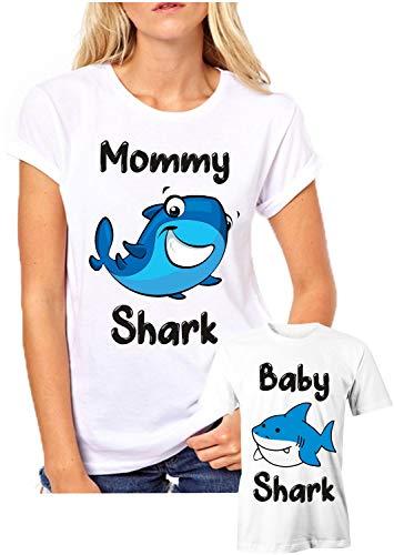 Puzzletee Coppia T-Shirt Madre Figlio Festa della Mamma Mommy Shark, Baby Shark - t Shirt Mamma Figlio - Idea Regalo
