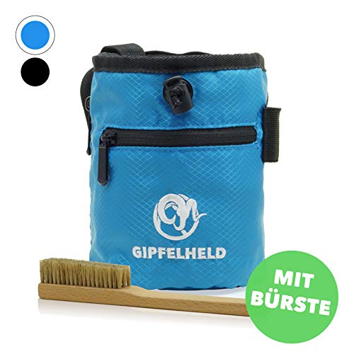 Gipfelheld® Chalkbag Set blau mit Boulder-Bürste zum Klettern und Bouldern, Magnesia-Beutel mit Karabiner, Hüftgurt und 2 Taschen, Kreide-Beutel auch für Crossfit und Gewichtheben