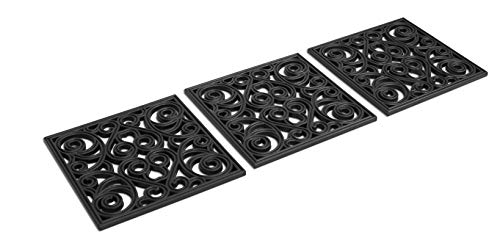 BIRDROCK HOME 12 x 12 Rubber Stepping Stones Tile - Set of 3 - Decorative Garden Mats - Sturdy Durable Steps - Perfect for Gardens Path, Flowerbed, Gravel, Dirt, Grass (12 x 12, Black)