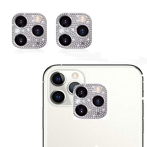 GSY Bling Crystal Camera Lens Protector for iPhone 11 Pro/iPhone 11 Pro Max, 2 Pack Rear Camera Cover 3D Bling Diamond Lens Cover Protective Ring Decoration Sticker Protector(Silver)