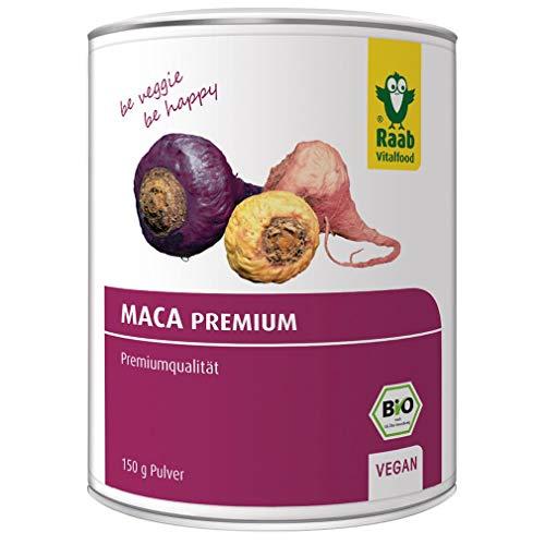 Raab Vitalfood Bio Premium Maca-Pulver; Maca-Wurzeln aus den Anden aus Peru, mit Glucosinolaten, Rohkostqualität hergestellt & laborgeprüft in Deutschland (150 g)