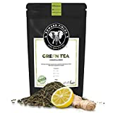 Edward Fields Tea ® - Té verde orgánico a granel con Jengibre y Limón. Té bio recolectado a mano con ingredientes y aromas naturales, 100 gramos, China.