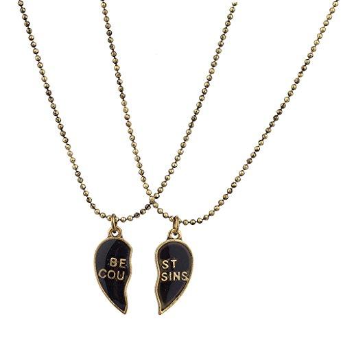 Lux Accessories Burnish Gold Best Cousins Mood Detachable Heart Necklace Set (2pc)