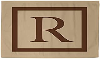 Manual Woodworkers & Weavers Dobby Bath Rug, 2 by 3-Feet, Monogrammed Letter R, Caramel Classic Block