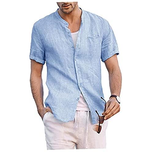 Heren shirts Katoen Linnen Button Down opstaande kraag zomer korte mouw Loose Blouse met Pocket Blue S