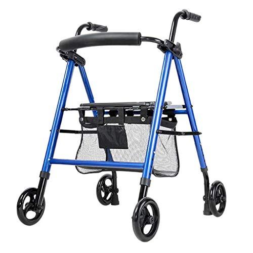 N/Z Home Equipment Rollator Wheel Leichter klappbarer Walker-Rahmen mit Untersitzkorb Verstellbarer Sitz und Griff Höhe Gehbeweglichkeitshilfe Faltbare Gehhilfe
