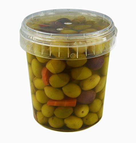 Hymor grüne Oliven Barbecue - 2x 570g Behälter - Oliven aus Marokko Marokkanische Olive eingelegt in Lake vegan, glutenfrei, zu Tapas, Salaten, beim Kochen