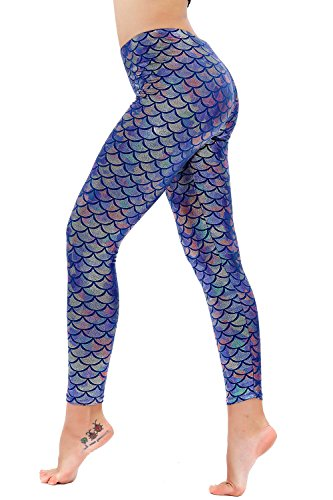 Diamond keep it Women's Mermaid Fish Scale Printing Full Length Leggings (Medium, Multicolor Dark Blue)