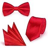 StickandShine SET Krawatte Fliege Einstecktuch Rot einfarbig uni aus Polyester