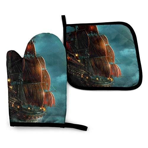 Juego de manoplas y soportes para ollas de barco pirata de navegación vintage náutica, esteras de cocina, manoplas de horno resistentes al calor para cocinar, barbacoa, asar a la parrilla (juego de 2