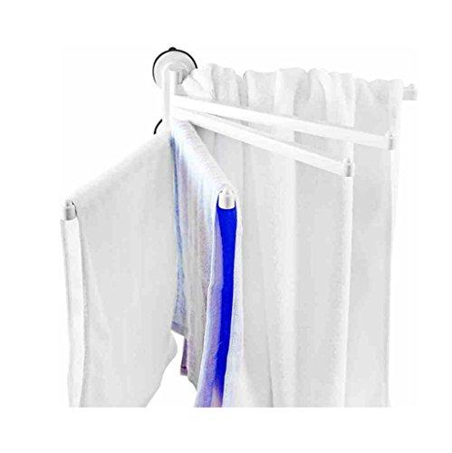 Étagère de salle de bain Barre à serviettes rotative 5 Arm Armoir salle de bain porte-serviette - plastique ABS et barre d'aspirateur MOS vide (aucun outil requis) Accessoires de toilette