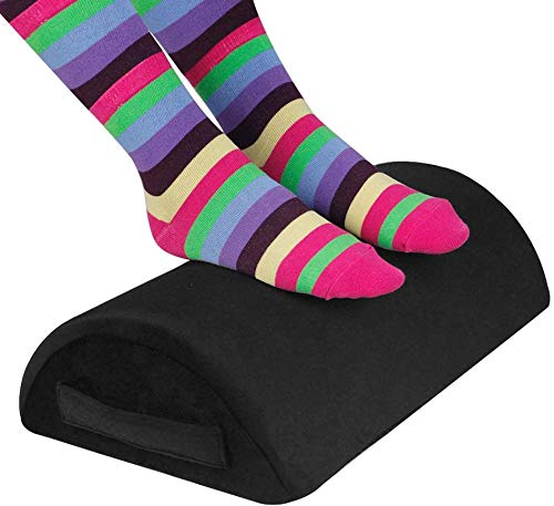 FoFxly Ergonomic Foot Rest Under Desk, Massage Granules, Home/Office/Travel Footrest for Relieving Knee Pain - Black (Black)