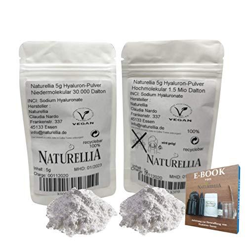 Naturellia 10g Vegan Hyaluronsäure Pulver pur duo hochdosiert 5g Hyaluron Pulver niedermolekular & 5g Hyaluron Pulver hochmolekular für Kosmetik Serum Creme herstellung geeignet