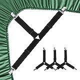 EAONE Verstellbare Bettlakenspanner,4 Stück Dreieck Bettlakenclips Verstellbar Betttuchspanner Elastische Lakenspanner Schwarz Spannbettlakenhalter mit Metallclips für Bettlaken, Matratze, Sofa