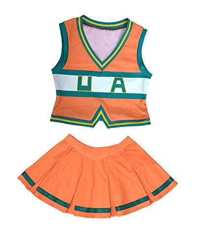 miccostumes Women's BNHA Cheer Uniform UA Cheerleader Cosplay Outfit Asui Tsuyu Costume (L/XL) Orange