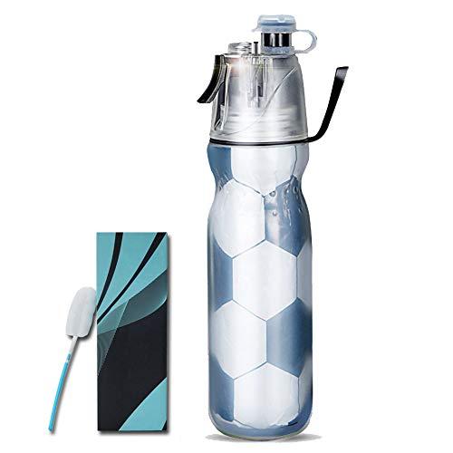 Botella de agua portátil con spray de niebla, botella aislada a prueba de fugas, viajes, senderismo, ciclismo, camping, gimnasio, deporte, botella de 590 ml (color negro fútbol)