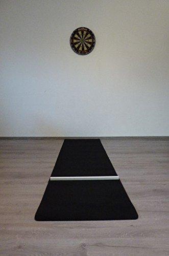 Profi Dart Teppich Set Startline Flex Dartteppich/Dartmatte Schwarz/Grau Meliert mit Abwurflinie Oche #444444