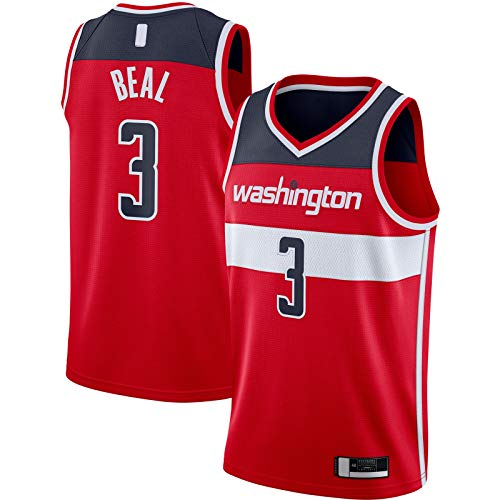 OYFFL Bradley Camiseta De Baloncesto Beal Sports Washington Top Sin Mangas Wizards Bordado #3 2020/21 Swingman Jersey Rojo - Icono Edition-L