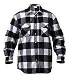 Rothco Heavy Weight Plaid Flannel Shirt, White, X-Large