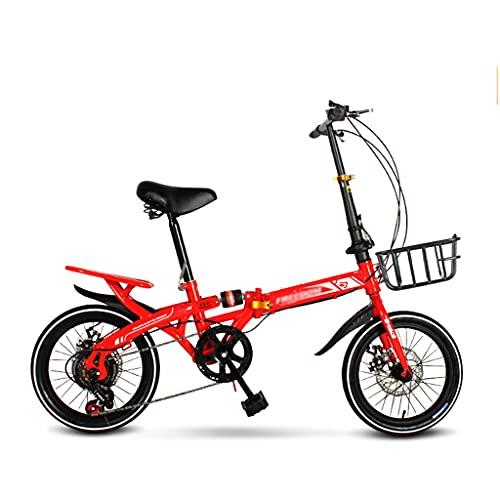 gxj Bicicleta Plegable Liviana, 7 Velocidades Y Frenos de Doble Disco Bici Plegable, Ejercicio De Viaje City Bike Neumáticos De Cercanías para Hombres Mujeres Y Adolescentes, Rojo(Size:16 Inch)