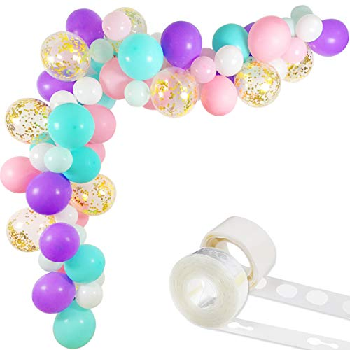 Unicorn Balloons Arch & Garland Kit, 70 Pack 12 Inch 5 Inch White Light Purple Pink Aqua Blue Mint Green Latex Balloons Gold Confetti Balloon Strip Set for Baby Shower Unicorn Party Supplies Birthday