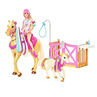 Barbie Groom 'n Care Horses Playset with Barbie Doll (Blonde 11.5-in), 2 Horses & 20+ Grooming and ...