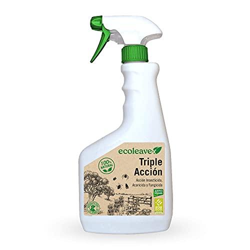 ECOLEAVEX Triple Acción Insecticida, Acaricida y Fungicida para Plantas, ECOLOGICO, 100% Natural y Residuo Zero. con Abonos, Micronutrientes y Bioestimulantes (Spray 750 ml)