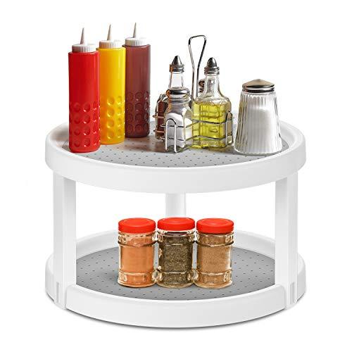 Kasimir Küchen Organizer für Gewürze Drehteller Gewürzregal aus BPA-freiem Kunststoff Doppelschicht Gewürzkarussell Für Zuhause, Küche, Badezimmer - 360° Drehbares - Ø25 x 15cm