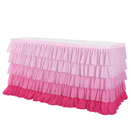 Achicoo Chiffon-Tischrock mit 5 Schichten, gewellt, für Hochzeiten, Partys Farbverlauf Pink