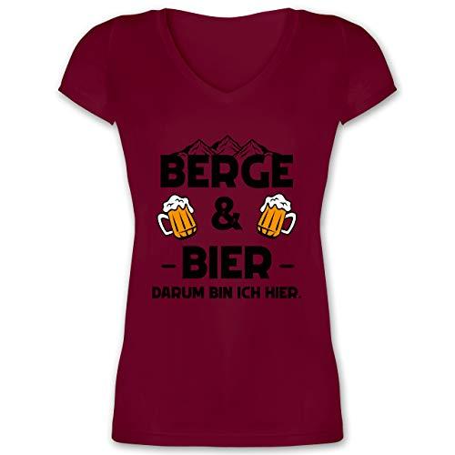Sprüche Statement mit Spruch - Berge und Bier schwarz - L - Bordeauxrot - Berge - XO1525 - Damen T-Shirt mit V-Ausschnitt