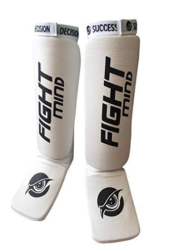 Fight Mind Schienbeinschoner/Perfekte Schützer für Kickboxen/Kampfsport. Frauen Herren Kindergröße. rutschfest und flexibel (Weiß, M)