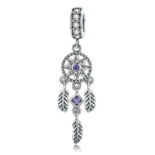 Encanto de plata de ley 925 Dream Cather Charm de pluma encanto encanto aniversario para pulsera...