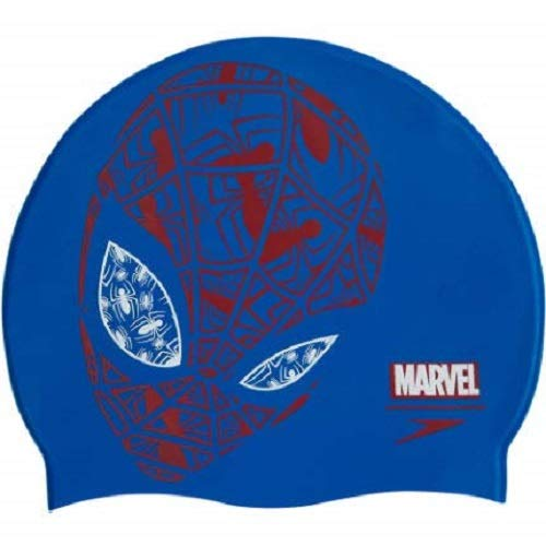 Speedo Bonnet de Bain Junior Marvel à Slogan Natation Unisex-Youth, Bleu, Taille Unique